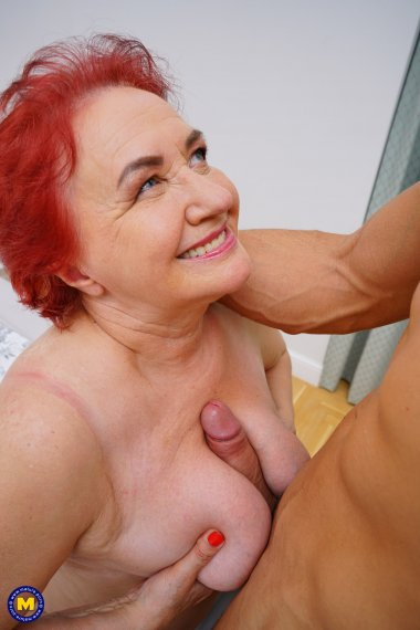 This naughty granny loves to get fucked by a muscular younger man
