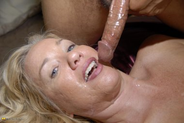 This hot blonde mature slut just loves the cock